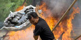 Komisyjne spalenie 3 ton marihuany. Miasteczko zostało ujarane. Indonezja