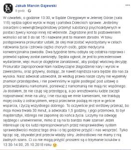 W najbliższy czwartek sąd wyda wyrok w sprawie Jakuba Gajewskiego oraz państwa Dołeckich. Apelujemy o wsparcie!