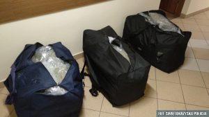 Kielecka policja udaremniła przemyt 60 kg marihuany, wartej ponad 3 miliony złotych. Marihuana była ukryta w trzech torba w dostawczym mercedesie.