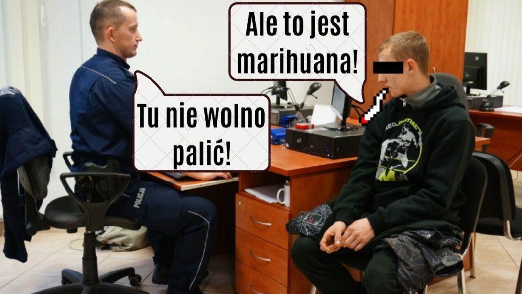 Zapalił jointa na komisariacie po czym sam sie przyznał do posiadania marihuany w domu.