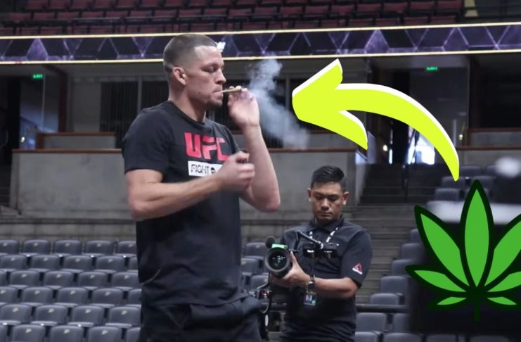 Nate Diaz na open workout przed UFC 241 zapalił jointa na scenie