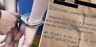 Nastolatek z Koszalina został zatrzymany za 0,0077 grama marihuany.