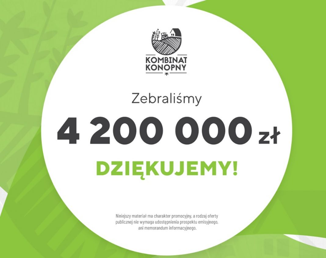To rekordowy wynik w historii polskiego crowdfundingu! Akcje Kombinatu Konopnego rozeszły się szybciej niż ciepłe bułeczki. W 38 min udało się zebrać 4 mln 200 tysięcy złotych! Dotychczasowy rekord crowdfundingu w Polsce osiągnęła Wisły Kraków, która na zebranie 4 milionów złotych potrzebowała